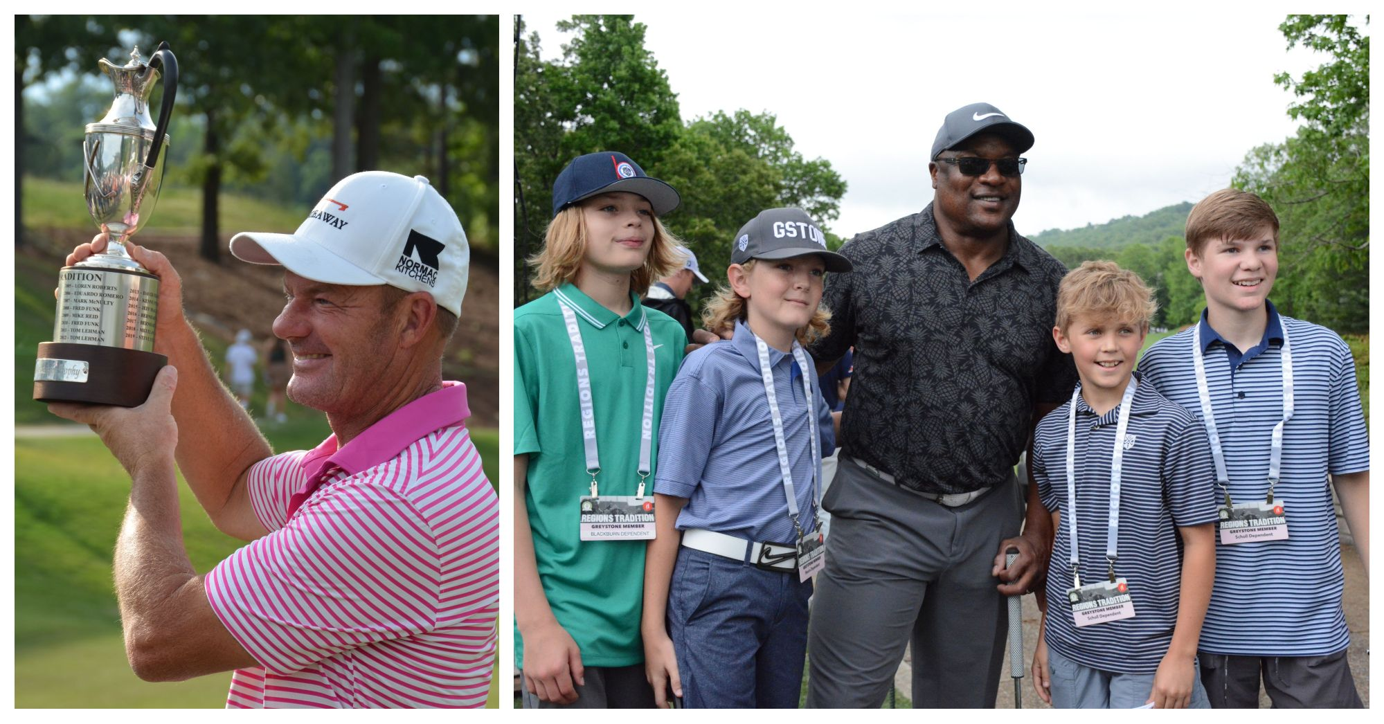 Collage image with Alex Čejka holding the Regions Tournament trophy; Bo Jackson and children at GGCC